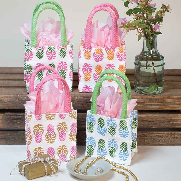 Aloha Pineapple Small Itsy Bitsy Gift Bags, Pack of 8 (Price is Per Bag) - rockflowerpaper LLC