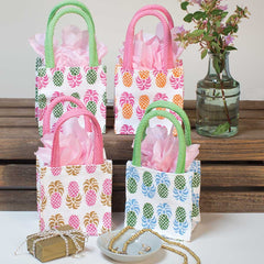 Aloha Pineapple Small Itsy Bitsy Gift Bags, Pack of 8 (Price is Per Bag)
