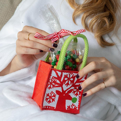Scandi Holiday Red Small Itsy Bitsy Gift Bags, Pack Of 8 (Price is per Bag) - 8/25