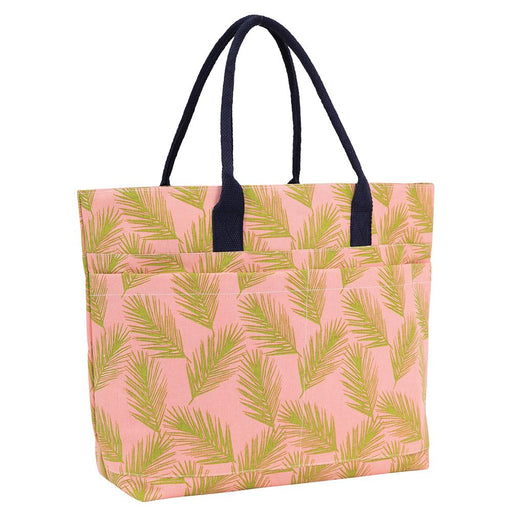 Palm Fronds Pink Beach Tote Bag - rockflowerpaper LLC