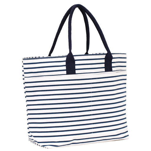 Bateau Stripe Navy Beach Tote Bag - rockflowerpaper LLC