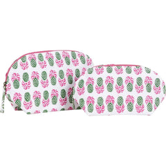 Aloha Pineapple Green Cosmetic Bags - Set of 2