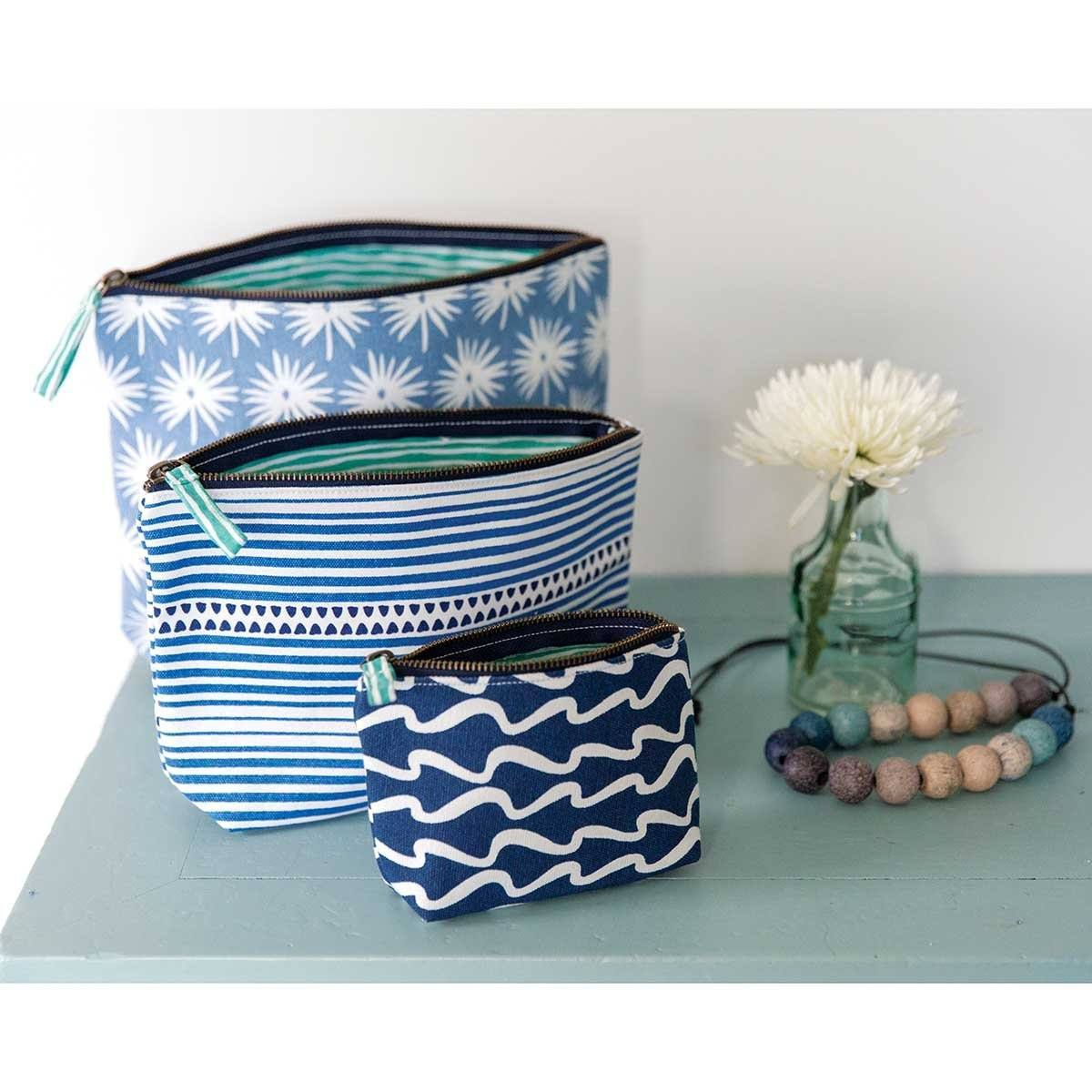 Bethany Blue Relaxed Medium Canvas Pouch