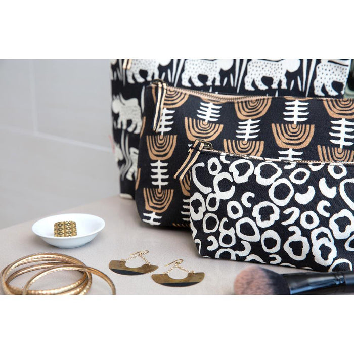 Naomi Black Relaxed Medium Canvas Pouch - rockflowerpaper LLC