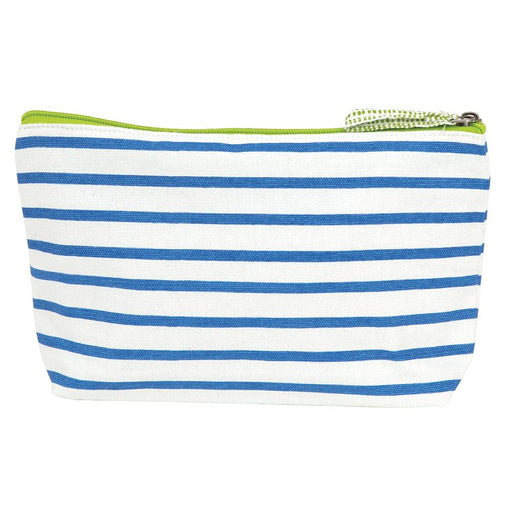 Bateau Stripe Sky Blue Medium Relaxed Pouch - rockflowerpaper LLC