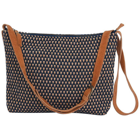 Neutral Woven Crossbody Handbag