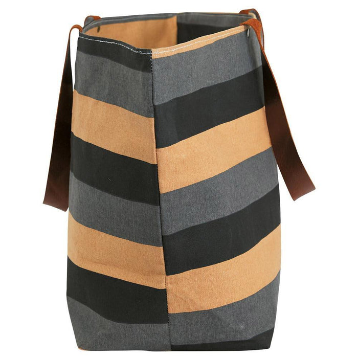 Freya Stripe Charcoal Canvas Carryall Tote Bag - rockflowerpaper LLC