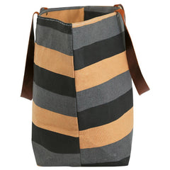 Freya Stripe Charcoal Canvas Carryall Tote Bag