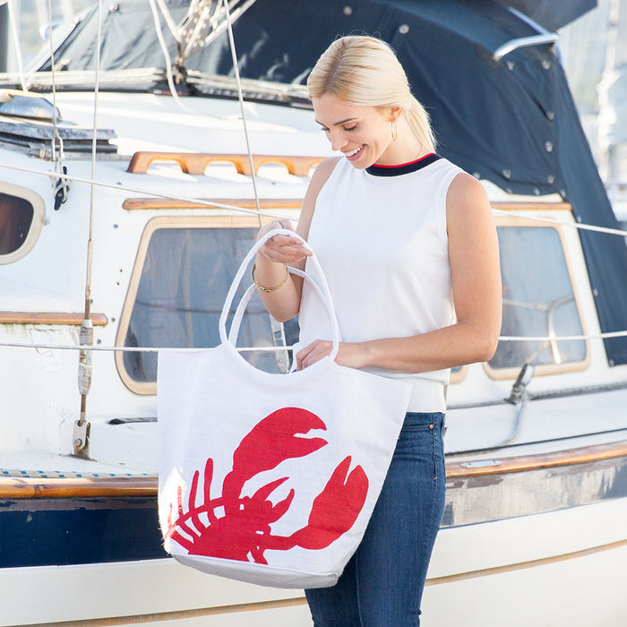 Red Lobster blu Jute Bucket Bag - rockflowerpaper LLC