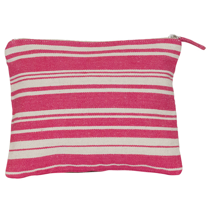 Woven Stripe Grey Cosmetic Pouch