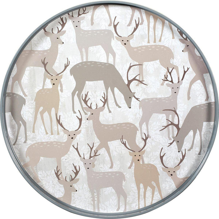 Winter Stags 18 inch Round Lacquer Serving Tray - rockflowerpaper LLC