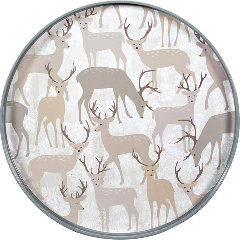 Winter Stags 18 inch Round Lacquer Serving Tray - 8/25