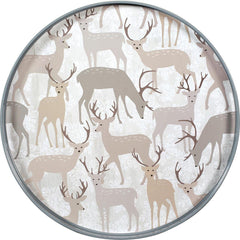 Winter Stags 18 inch Round Lacquer Serving Tray