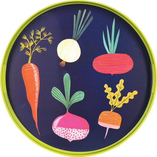 Root Veggies Blue 18 Inch Round Lacquer Serving Tray - rockflowerpaper LLC