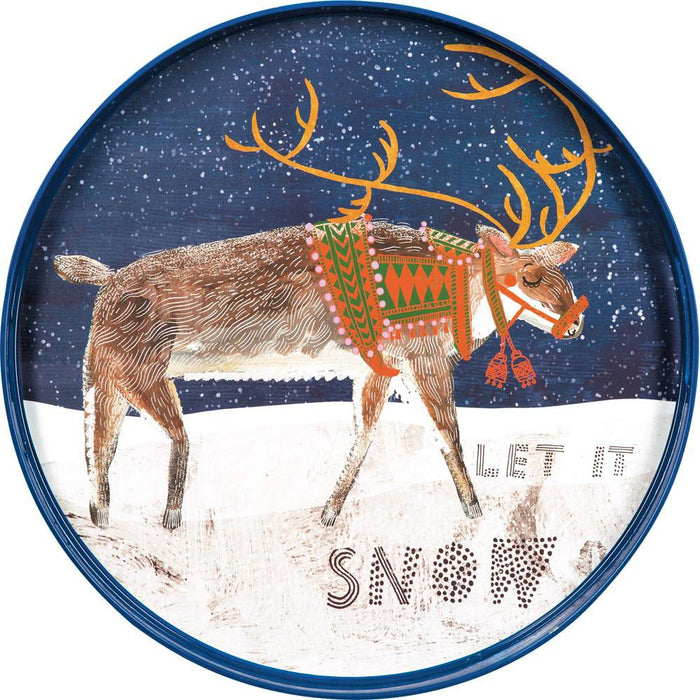 Reindeer Blue 18 Inch Round Lacquer Serving Tray
