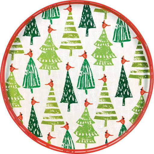 Cardinal Forest Red 18 Inch Round Lacquer Serving Tray - rockflowerpaper LLC