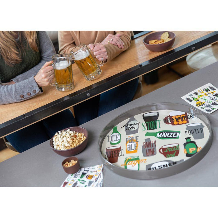 Beer Green 18 Inch Round Lacquer Serving Tray - rockflowerpaper LLC