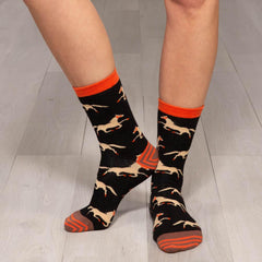 Pony Black Pair of Crew Length Socks