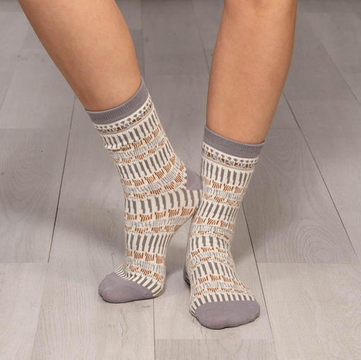 Lila Tan Pair of Crew Length Socks - rockflowerpaper LLC