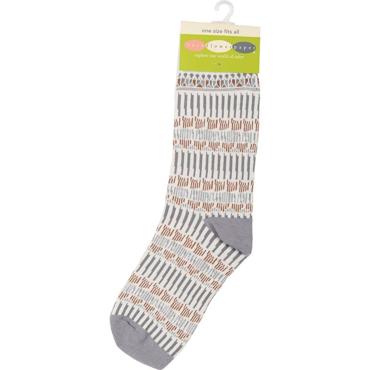 Lila Tan Pair of Crew Length Socks