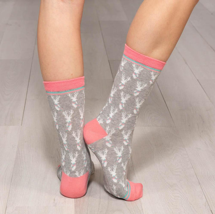 Stag Grey Pair of Crew Length Socks - rockflowerpaper LLC