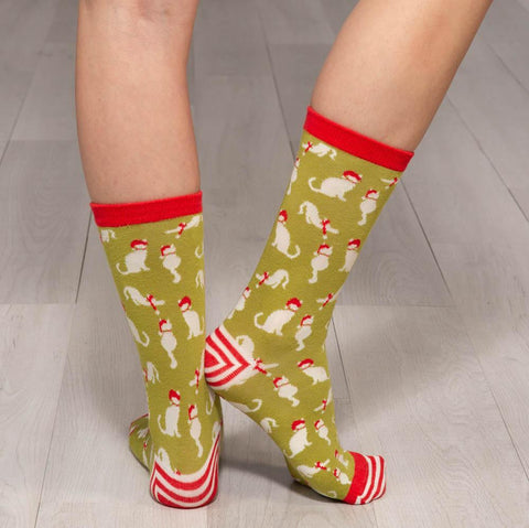 Cats Lime Green Pair of Crew Length Socks