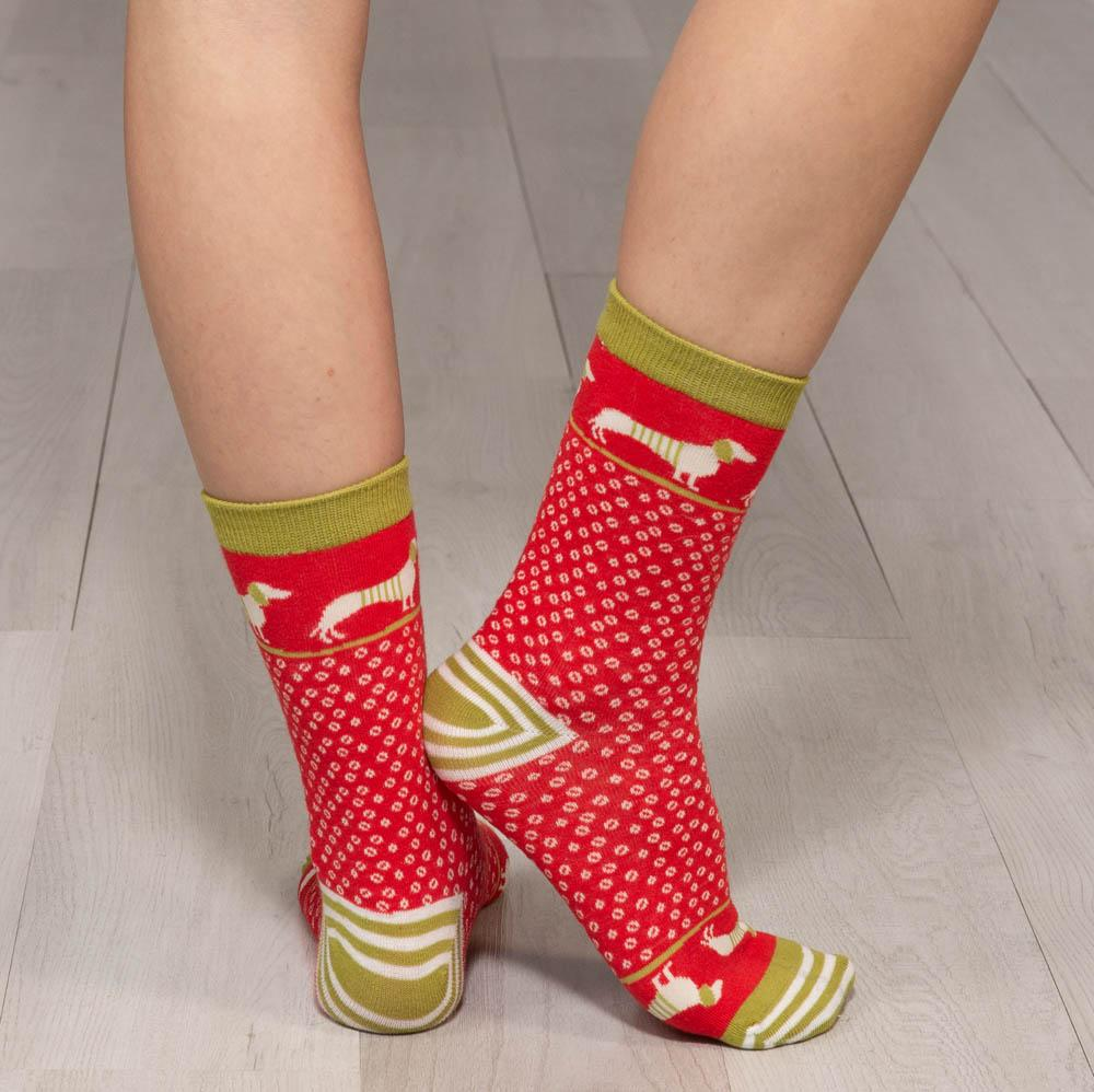 Christmas Dachshunds Pair of Crew Length Socks