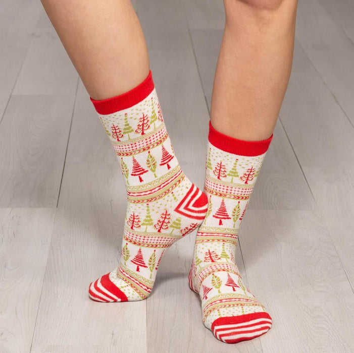 Trees Red Pair of Crew Length Socks - rockflowerpaper LLC