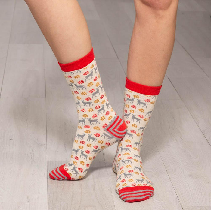 Winter Deer Grey Pair of Crew Length Socks - rockflowerpaper LLC