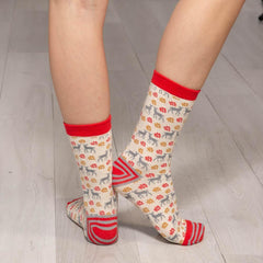 Winter Deer Grey Pair of Crew Length Socks