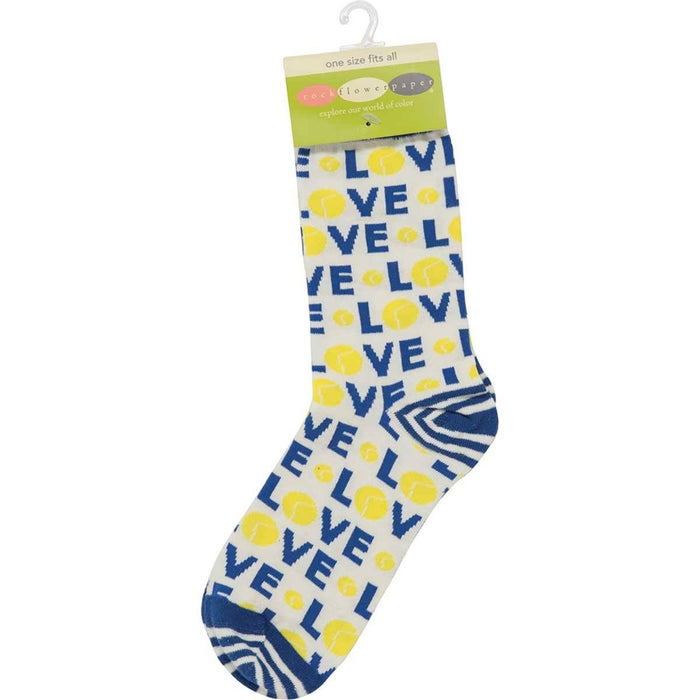 Tennis Love Pair of Crew Length Socks - rockflowerpaper LLC