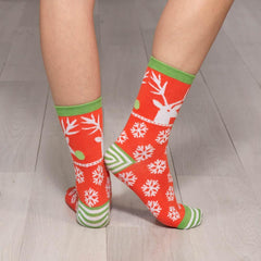 Woodblock Deer Red Pair Of Crew Length Socks