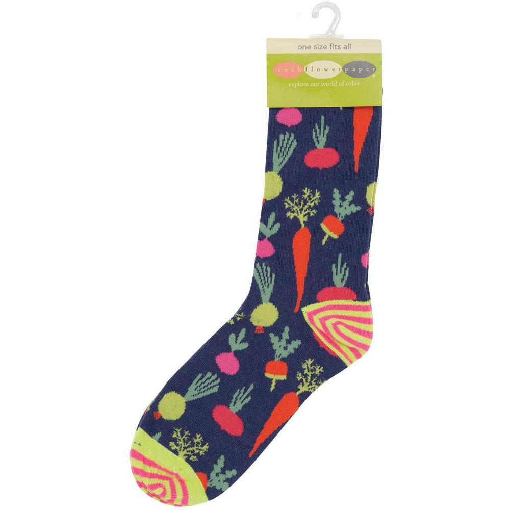 Root Veggies Blue Pair Of Crew Length Socks