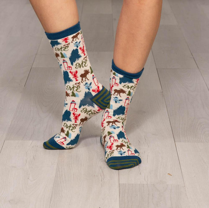 Maine Blue Pair Of Crew Length Socks - rockflowerpaper LLC