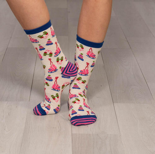Winter Warmies Pink Pair Of Crew Length Socks - rockflowerpaper LLC