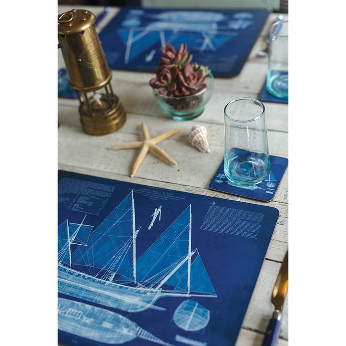 Blueprint Ship Square Art Coasters Set of Four - rockflowerpaper LLC