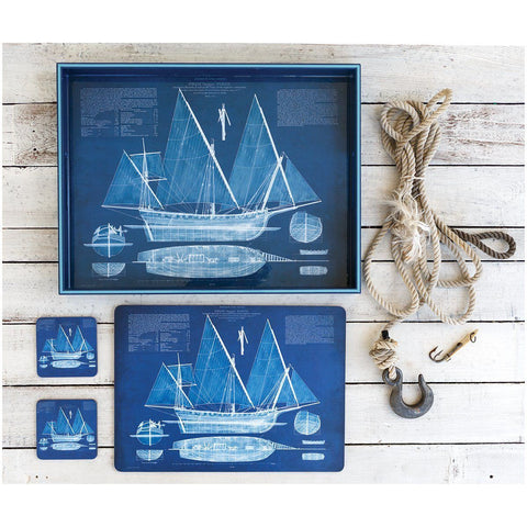 Blueprint Ship Square Art Coasters Set of Four