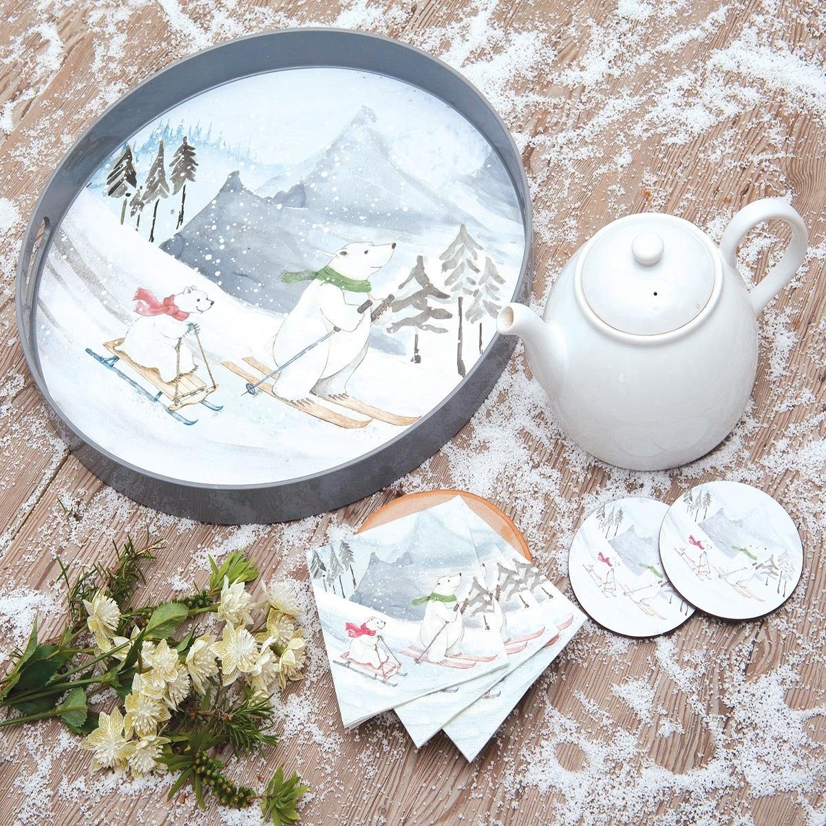 Ski Bears Round Art Coasters - Set of Four - rockflowerpaper LLC