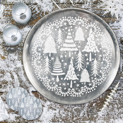 Silver Firs Round Art Coasters - Set of Four