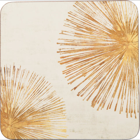 Gold Sunbursts Art Coasters - Set of Four - rockflowerpaper LLC