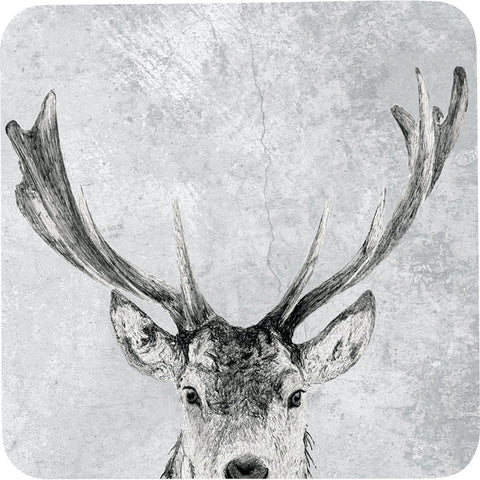 Snowy Deer Art Coasters - Set of Four