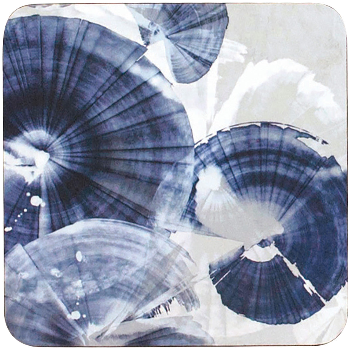 Indigo Pinwheels Art Coasters - Set of Four