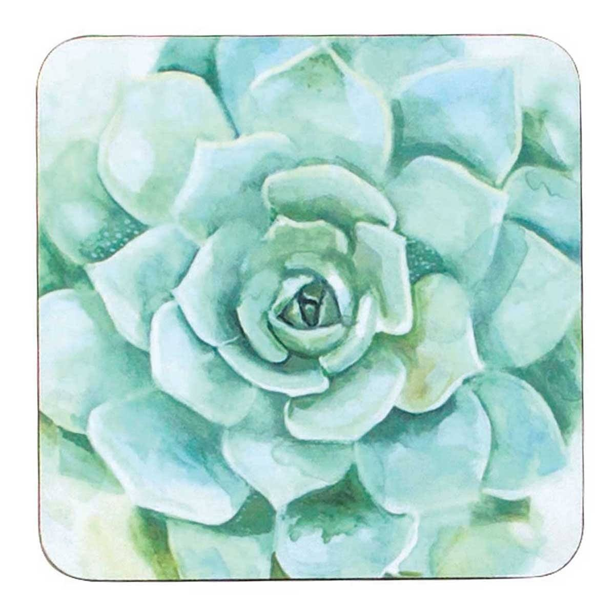 Verdant Succulent Art Coasters - Set of Four