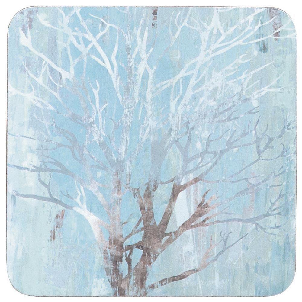 Silver Tree Neutral Square Art Coasters - Set Of Four - rockflowerpaper LLC