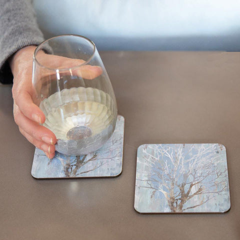 Silver Tree Neutral Square Art Coasters - Set Of Four
