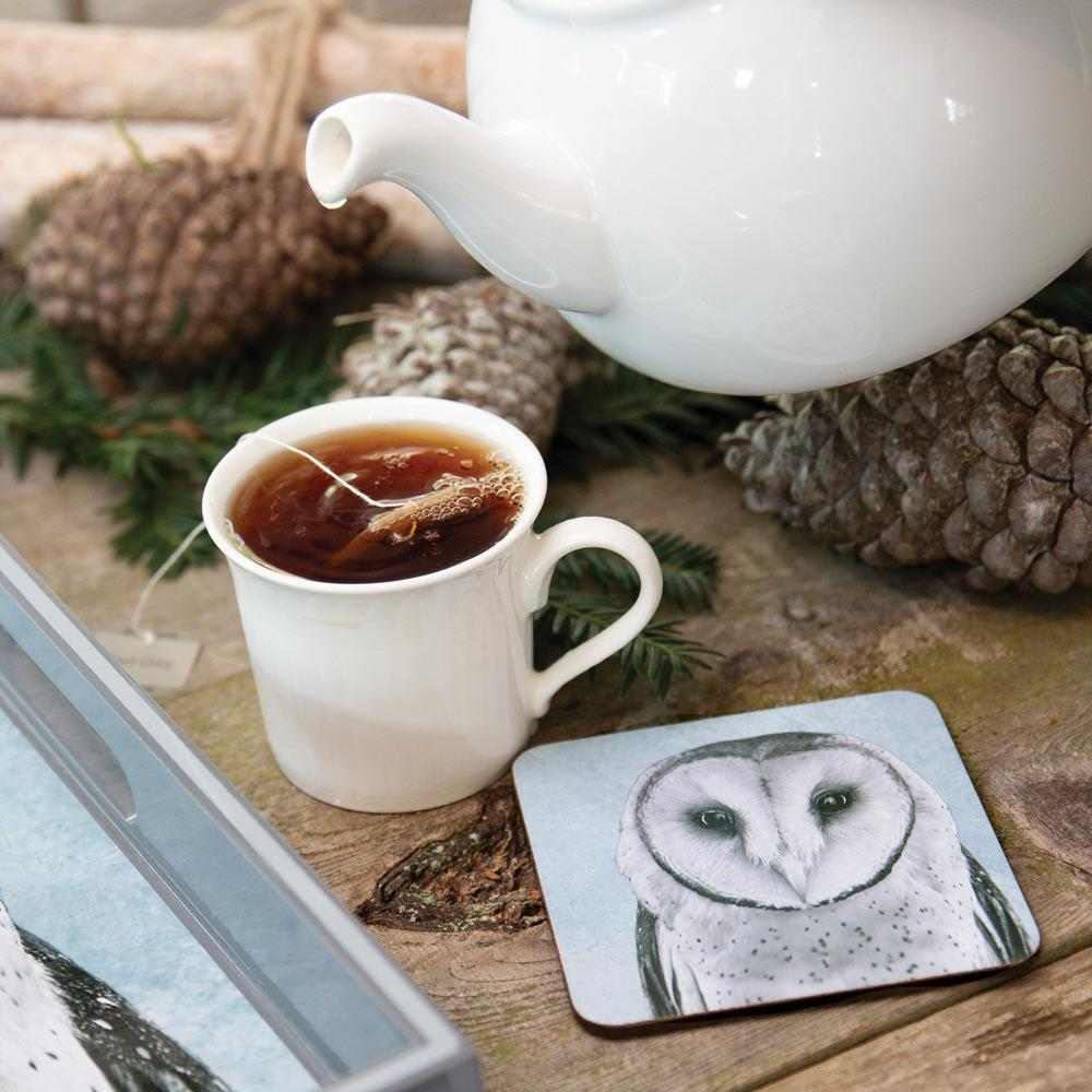 Snowy Owl Neutral Square Art Coasters - Set Of Four