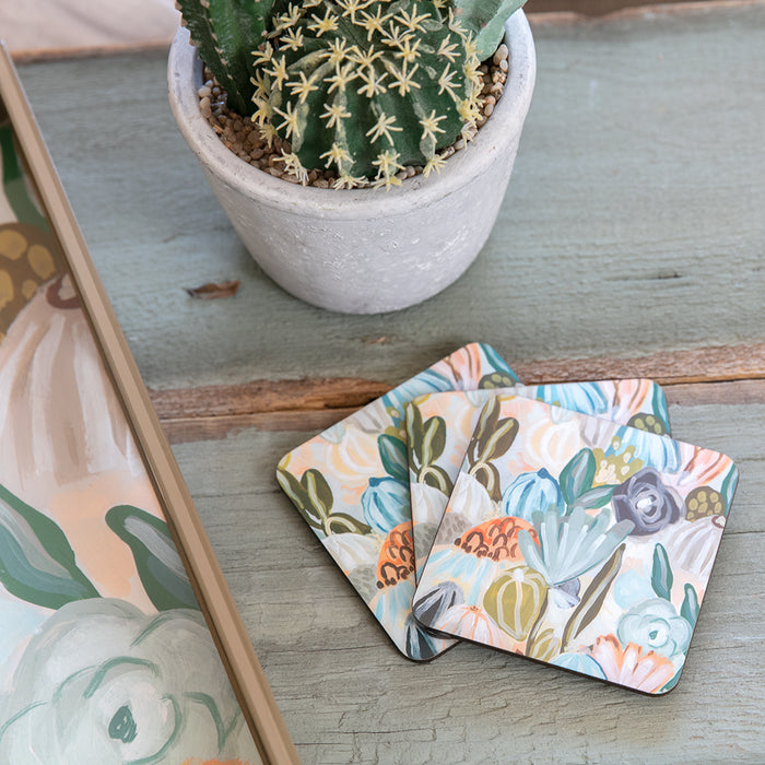 Cactus Garden Square Art Coasters - Set of 4 - rockflowerpaper LLC