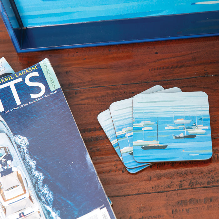 Summer Regatta Square Art Coasters - Set of 4 - rockflowerpaper LLC