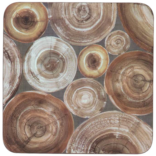 Stacked Wood Neutral Square Art Coasters - Set of 4