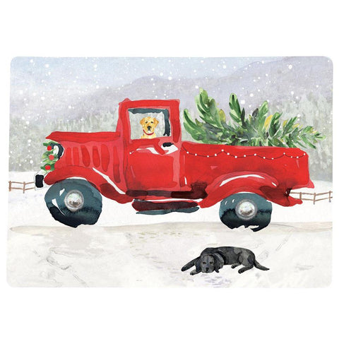 Vintage Red Truck Christmas Placemats.Coasters And Placemats Rockflowerpaper Llc